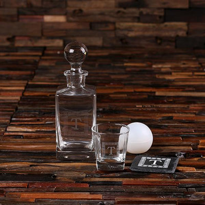 Decanter Set With Low ball Glass, Coasters and Ice Ball Maker