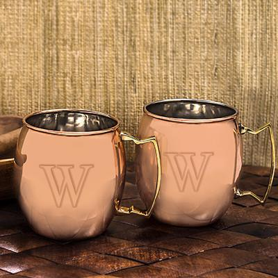 Single Initial Engraved Moscow Mule Glasses