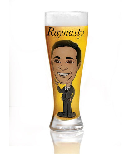 Painted Caricature on a Pilsner Glass