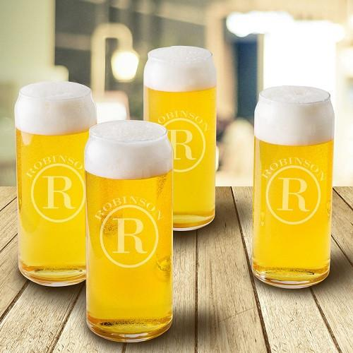 Tall Can shaped beer glass circle engraving
