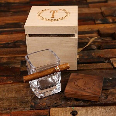 Low Ball Whiskey Glass and Cigar Holder with Box