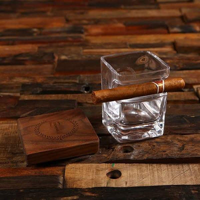Engraved Low Ball Whiskey Glass and Cigar Holder