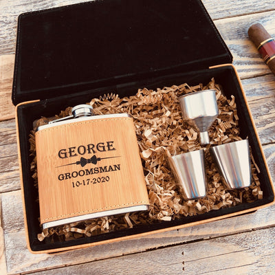 Engraved Groomsmen Shots and Flask Set