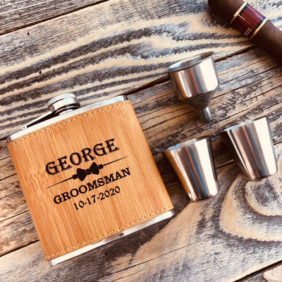 Engraved Groomsmen Bamboo Colored Shots and Flask Set