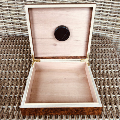 Engraved Burl Box Humidor Gift Set