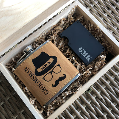 Engraved Wooden Gift Box, Flask and Wallet