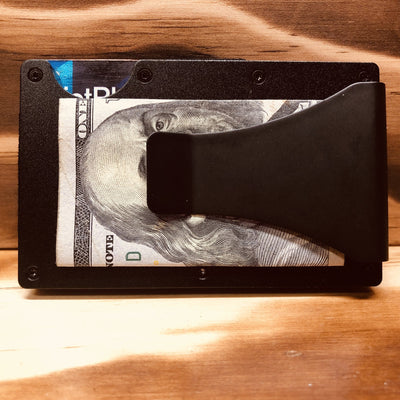 Engraved Matte Black Metal Wallet