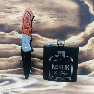 Personalized 6 Oz Flask and Knife