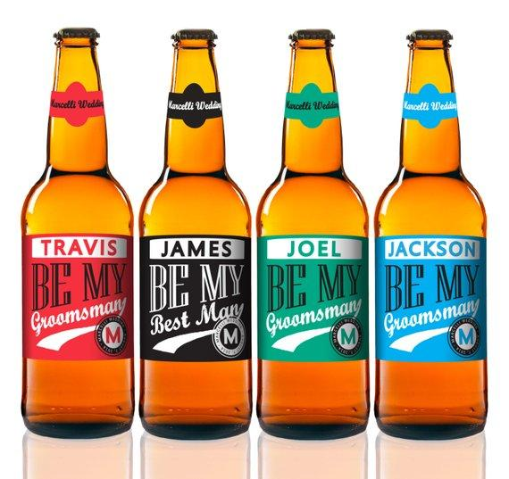 Multi Colored Personalized Beer Bottle Label