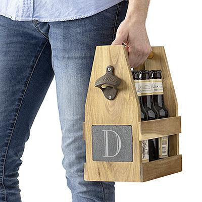 Wooden Beer Holder With Bottle Opener Attached