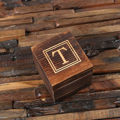 Engraved Wooden Box With Lowball Glass