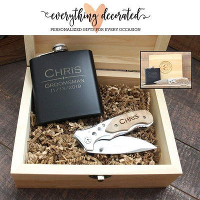 Groomsmen Gift Set With Flask And Knife