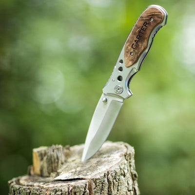 Engraved Lock Back Knife With Wooden Handle