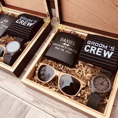 Engraved Matte Black Flask, Grooms Crew Socks, Wooden Sun Glasses and Watch