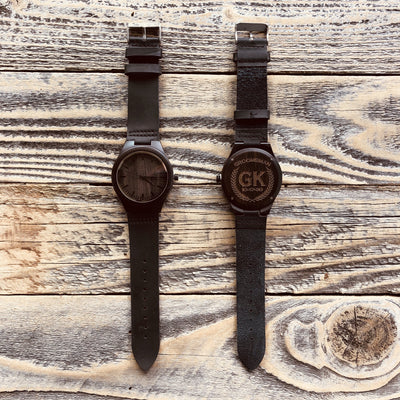 Engraved Wooden Watch with Leather Strap