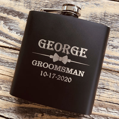 Matte Black Engraved Groomsmen Flask