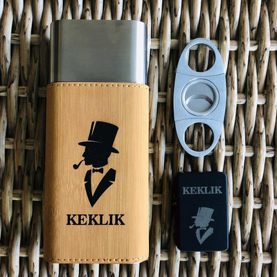 Engraved Cigar Set, Metal Cutter, Black Lighter, Cigar Travel Holder