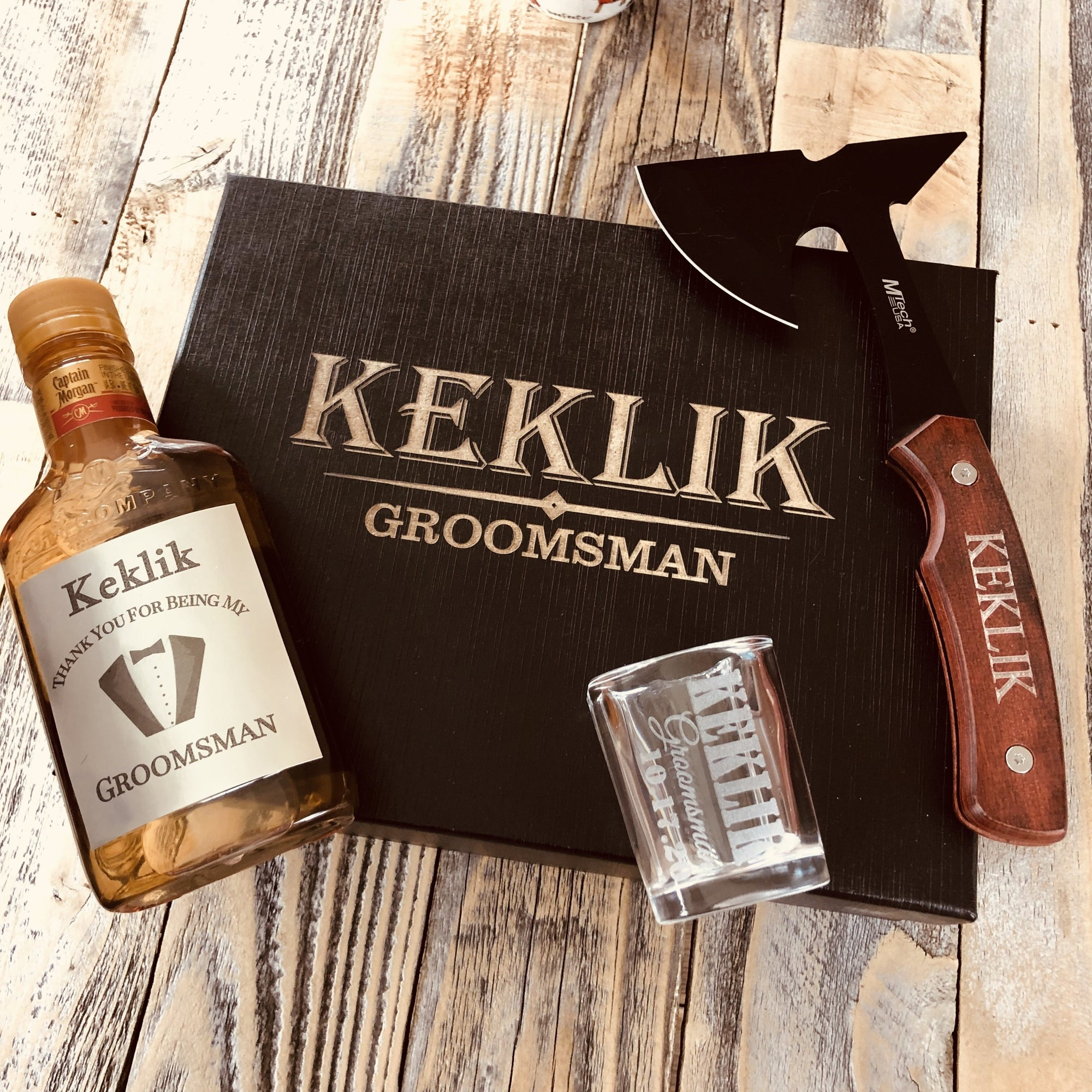 Engraved Axe, Shot Glass, Label Gift Set