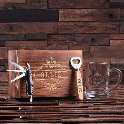 Brown Box with Bottle Opener, Pocket Knife and Glass Mug