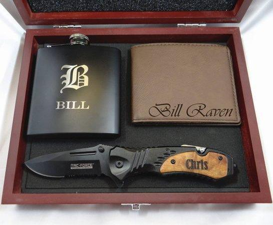 Groomsmen Box, Metal Flask, Leather Watch and Utility Knife