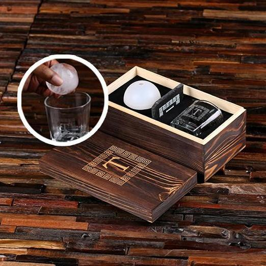 Wooden Box, Low ball Glass, Coasters and Ice Ball Maker