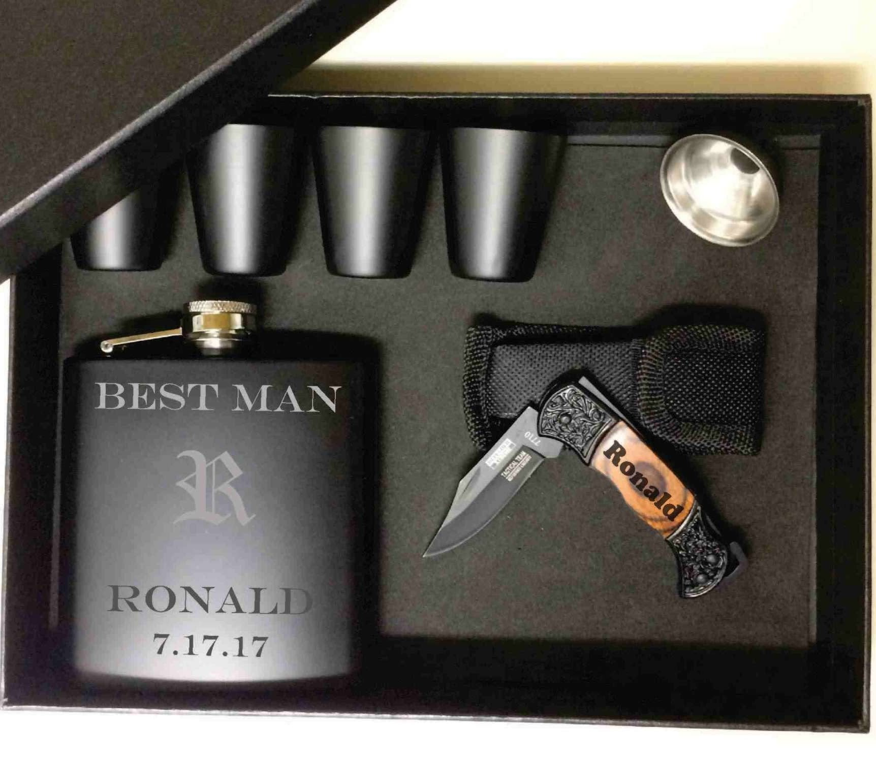 Gift Box, Metal Flask, Shot Glasses and Knife