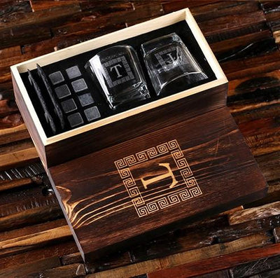Engraved Wooden Box with Low Ball Glasses, Whiskey Stones and Coasters