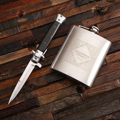 Stainless Steel Flask and Switch Blade
