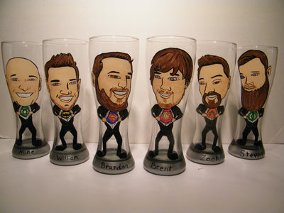 Full Body Painted Caricature On Beer Glass