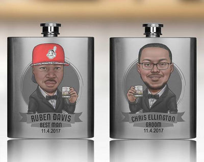 Metal Flask With Printed Groomsmen Caricature
