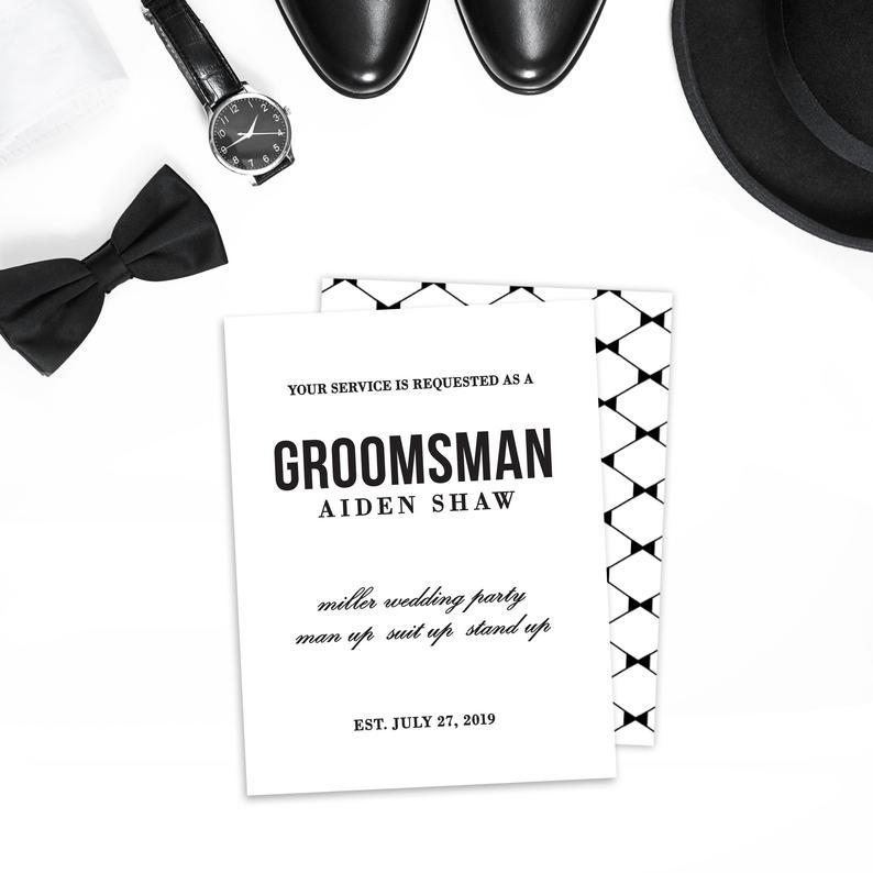 Engraved Groomsmen Proposal Card