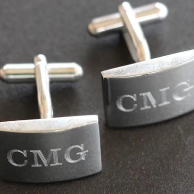 Monogrammed Rectangle Silver Cuff Links