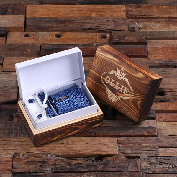 Wooden Box With Blue TIe, Tie Bar and Cuff links