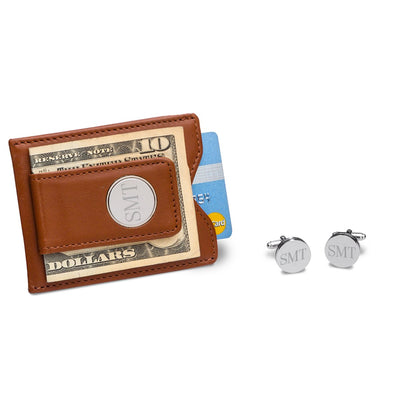 Leather Wallet with Round Silver Cufflinks