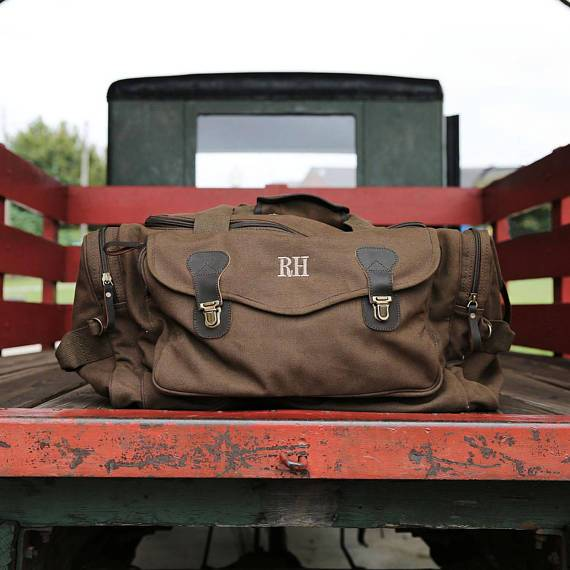 Embroidered Brown Canvas Duffel Bag