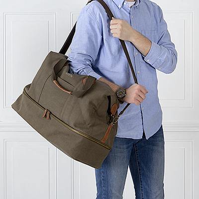 Embroidered Olive Green Duffel Bag