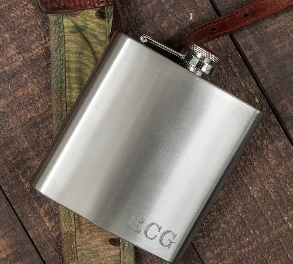 Monogrammed Stainless Steel Flask