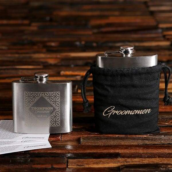 Engraved Small Stainless Steel Flask with Draw String Bag