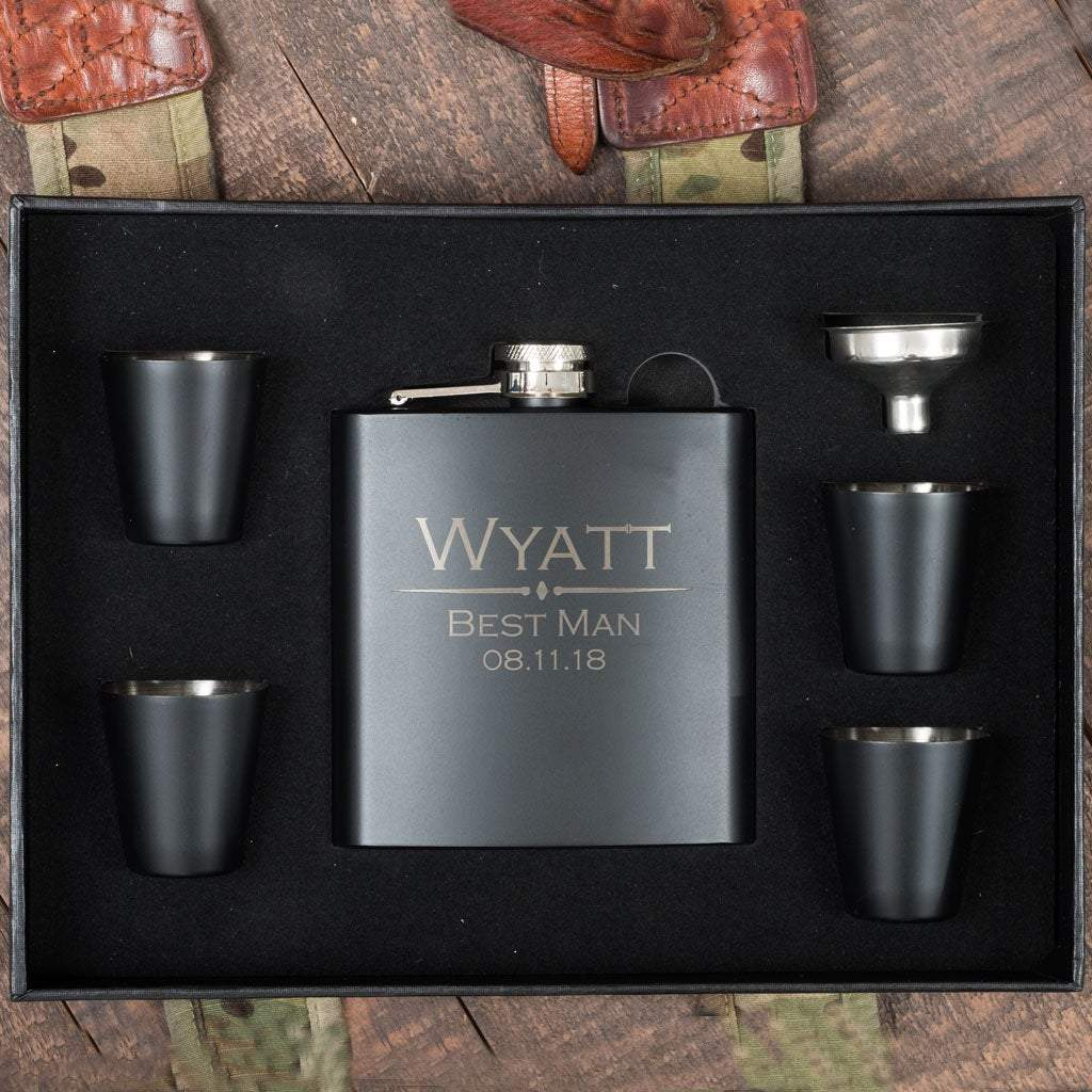 Black Box with Flask and Four Shot Glasses