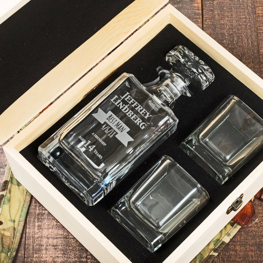 Engraved Glass Decanter Set and Gift Box