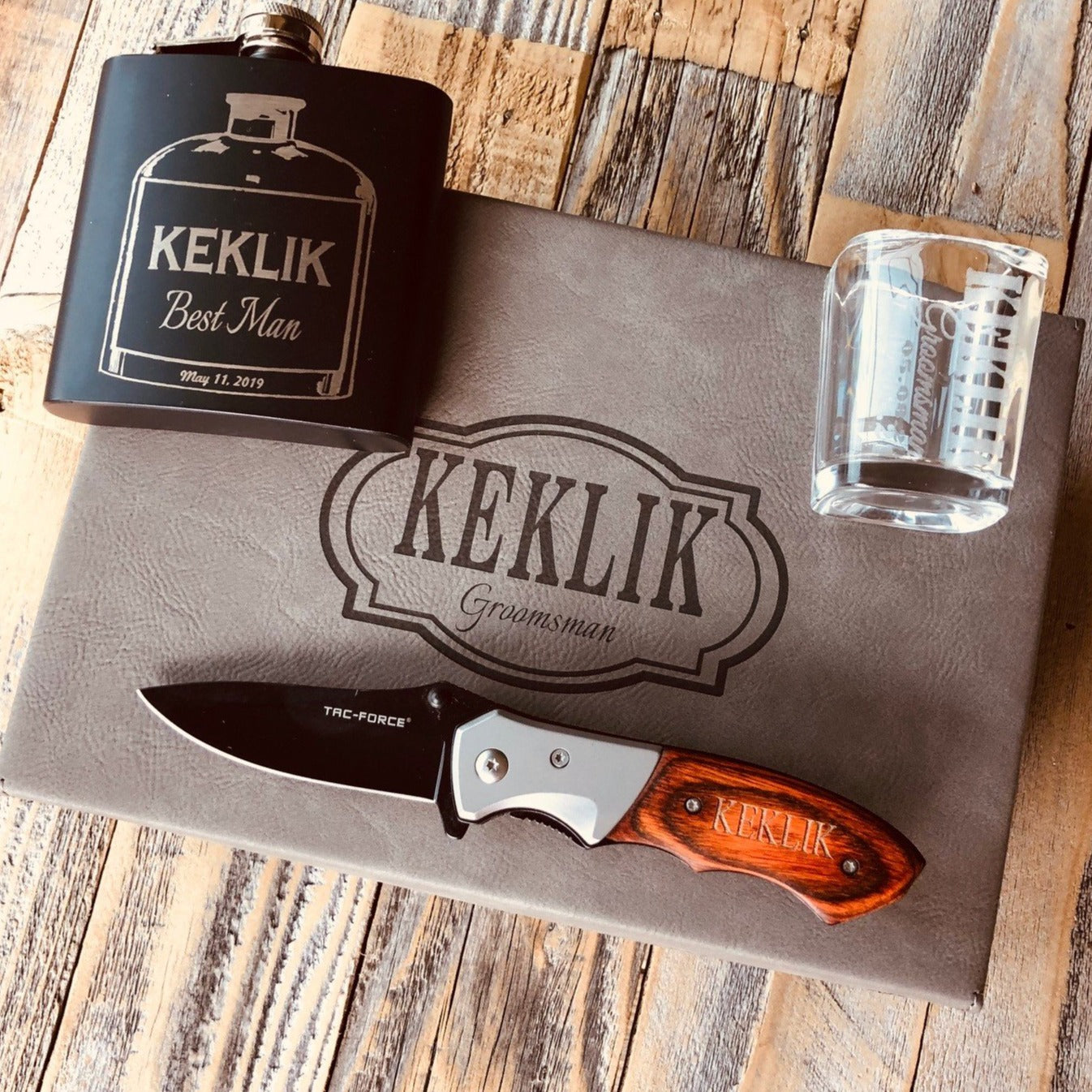 Grey Box Set Groomsmen Gift with Flask & Knife & Shot Glass