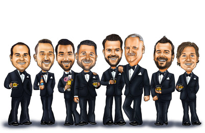 Groomsmen Gifts - Groomsmen Group Caricature