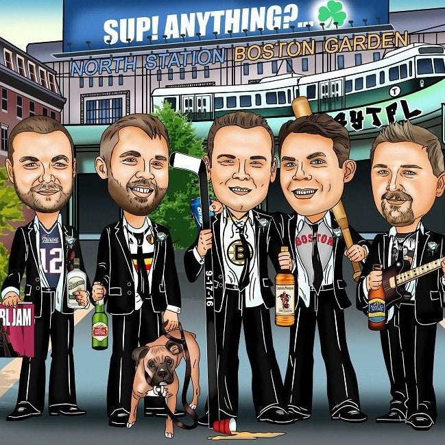 groomsmen wedding pary group caricature