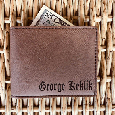 Engraved Brown Leather Wallet