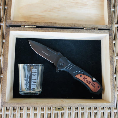 Engraved Groomsmen Box With Knife And Shot Glass