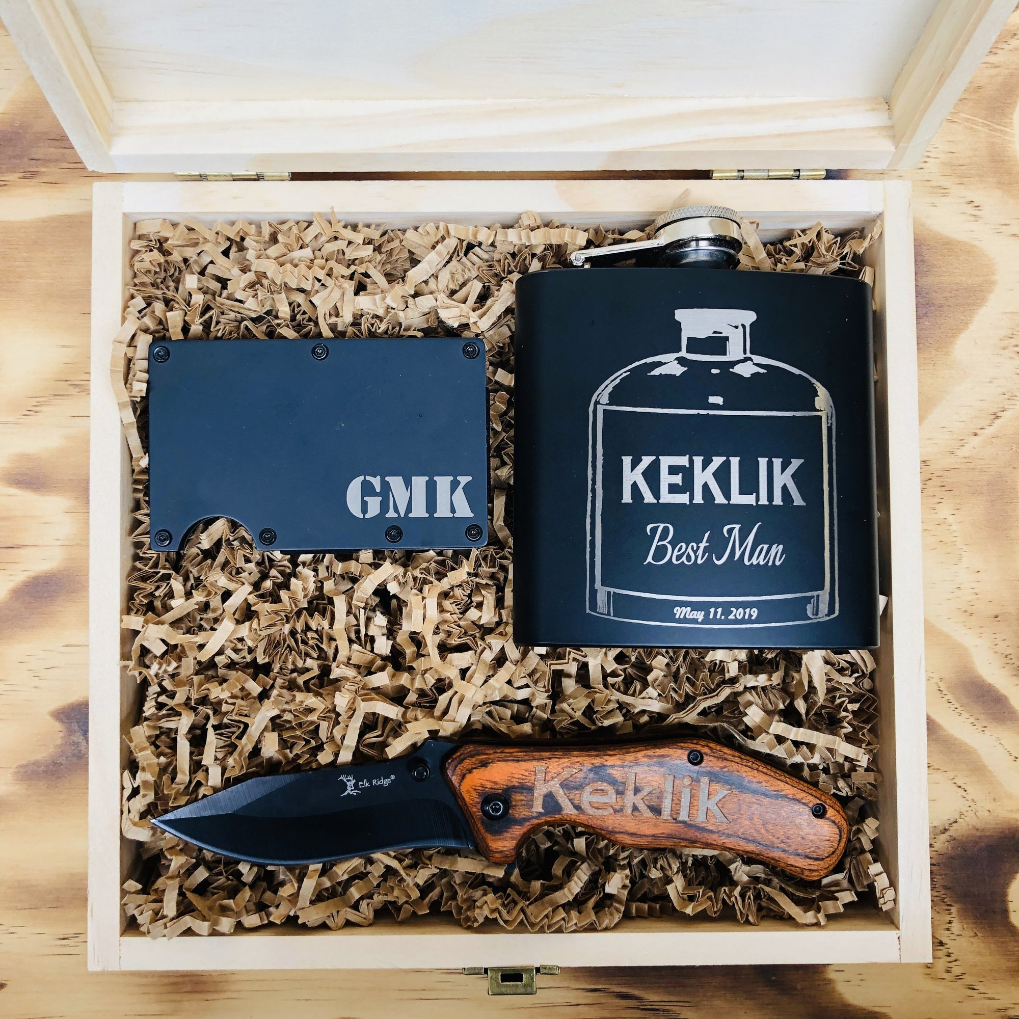 Engraved Wooden Box, Metal Wallet, 6 Oz Flask and Folding Knife