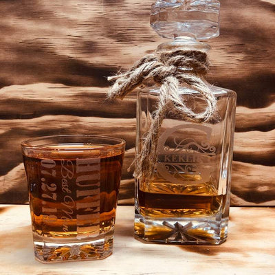 Engraved Groomsmen Whiskey Glass and Decanter