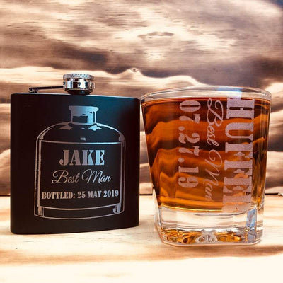 Engraved Groomsmen Whiskey Glass and Metal Flask