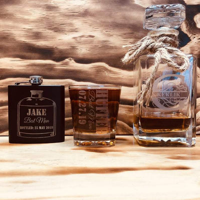 Engraved Groomsmen Whiskey Glass set