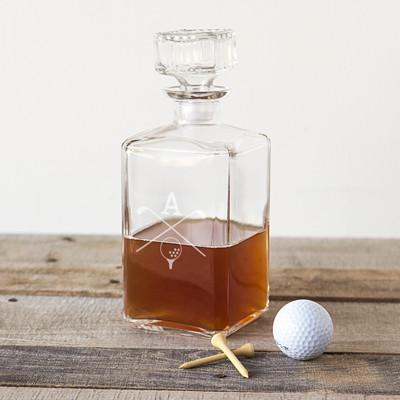 Engraved Square Glass Golf Decanter